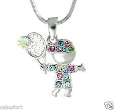 TENNIS PLAYER Made With Swarovski Crystal Sport Multi Color Boy Pendant Necklace