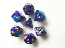 Dice Polyhedral 7-Die Blended Set Blue + Deep Purple New In Acrylic Case
