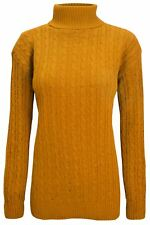 Womens Knitted Chunky Cable Long Sleeve Ladies Turtle Polo High Neck Jumper Top