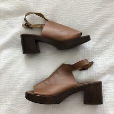 Topshop Pumps 37/4/7 Tan Leather Open Toe Slingback Block Heels Buckles EUC