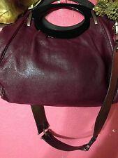 Marni Leather Convertible Hobo Handbag Burgundy/plum Removable shoulder strap