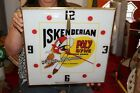 "Vintage 1971 Iskenderian Racing Poly Dyne Cams 15"" Pam Lighted Metal Clock Sign"