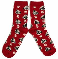 LADIES RICH RED MULTIPLE PUG FACE DOG SOCKS ONE SIZE