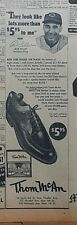 1947 newspaper ad for Thom McAn Shoes - Cleveland Red Bob Feller Strikeout King