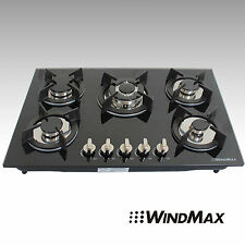 "US Seller 30""Tempered Glass Built-in 5 Burner LPG/NG Gas Hob Cooktops Cook Top"