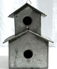 Rustic Shabby-Chic Decor Galvanized Steel Birdhouse 2 Level W/ 2 Perch Posts