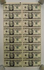 1996-Uncut U.S. Currency Sheet-16 x $20 Bills-Federal Reserve Notes-Star Notes