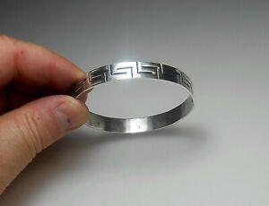 "STERLING SILVER 8"" Antique Artisan Made Greek Key Wide Bangle Bracelet AWESOME"