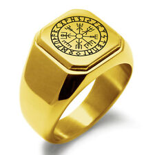 Stainless Steel Vegvisir Viking Rune Square Flat Top Biker Style Polished Ring