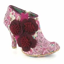 Zip Floral Textile Boots for Women