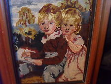 "VINTAGE COMPLETED NEEDLEPOINT-""OLD MASTERS"" BOY AND GIRL- TIERED WOOD FRAME-"