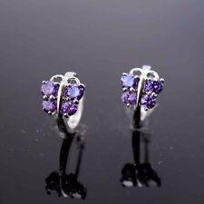 Butterfly Hoop Purple Cz Gf Jewelry Luxury 18k White Gold Filled Earrings 14mm