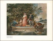 FISHING PARTY, MEN & WOMEN from BOAT, ANGLING, MORLAND, vintage print 1927