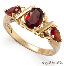 1.35 Carat Garnet Three Stone Ring, Solid Rose14K Gold  #R708