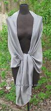 Elegant Sheer Silver Smoke Silk Chiffon Evening Wrap Bridal Shawl Prom Scarf