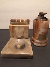 Vintage Genuine Onyx Pakistan Japanese Lighter with Desk ash Tray Pen Holder HTF