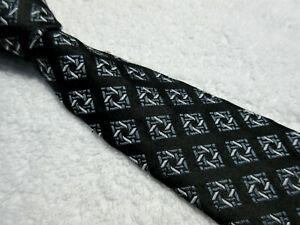 VINTAGE BLACK GREY WHITE DIAMOND 3.75 inch POLYESTER neck tie by ST MICHAEL