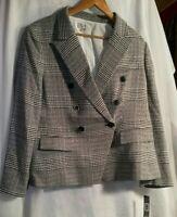 $139 Tahari ASL Women's Black Knit Plaid One Button Jacket Blazer Size XL New