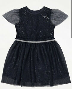 George Bnwt Girls Navy Sparkly Party Dress Size 2-3 Years