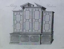 English Library Bookcase Design by Chippendale, Magic Lantern Glass Slide