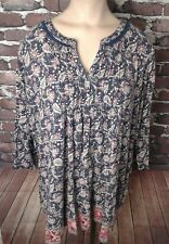 Womens Plus Lucky Brand Blue Notch Neck Floral Leaf Boho Peasant Shirt Size 2X