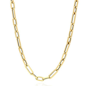 """4mm Elongated Paperclip Figaro Link Chain Necklace 14K Yellow Gold 16""""-24"""""""