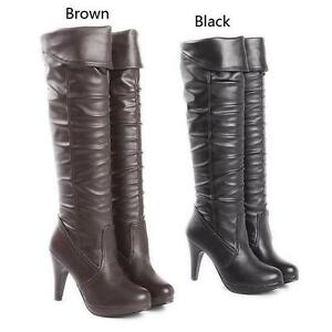 Ladies Womens Platform High Heel Knee High Riding Boots Party Shoes Casual New