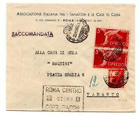 1946 REPUBBLICA RACCOMANDATA ESPRESSO DEMOCRATICA ROMA CENTRO-TARANTO