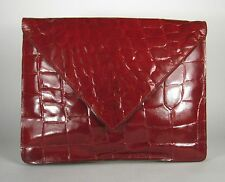 Italian Clutch Handbag Red Leather Made Italy Size 13 x 10 1/2 Inches Lined