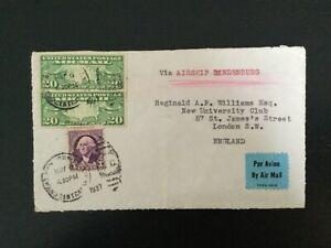 USA 1937 Hindenberg Airmail Cover to England (E164)
