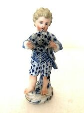 More details for meissen porcelain charming figure of a boy holding a garland of flowers c1790
