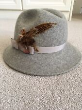 Ladies Grey Trilby Hat with Feather And Ribbon Trim