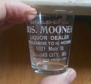 KANSAS CITY JOS.MOONEY LIQUOR DEALER ETCHED PRE PRO ADV WHISKEY SHOT GLASS