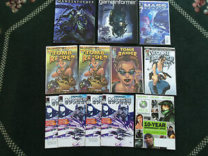 Lot of 12 Gamer Collectible Items - Tomb Raider & Mass Effect Comic Books & More