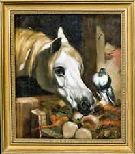 19th Century English Portrait White Horse Head & Bird John Frederick HERRING