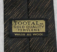Vintage TOOTAL Tie Mens Necktie Retro Fashion GOLD QUALITY TWO TONE BLACK