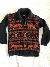 Vtg Alps Knitmeister Norwegian Wool Shawl Neck Sweater Black Brown Mens LARGE