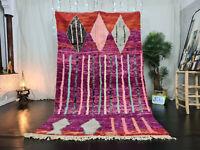 "Vintage Moroccan Boujaad Handmade Rug 5'4""x9' Berber Geometric Purple Red Carpet"