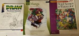 Walter Foster How To Draw Manga Floral Watercolors Medieval Fantasies Damon...