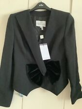 Gai Mattiolo black jacket size 16 eu 44, stunning velvet bow fastening fitted ja