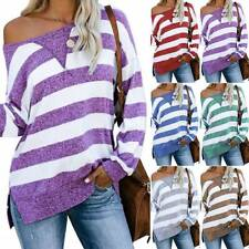 Women Long Sleeve One Shoulder Blouse Tops Striped Baggy Casual Pullover Shirts