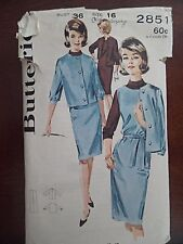 BUTTERICK Sewing Pattern 2851 Size 16 Jumper Jacket Blouse Vintage 60's