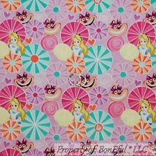BonEful FABRIC FQ Cotton Quilt Purple Pink Alice in Wonderland Heart Disney Cat