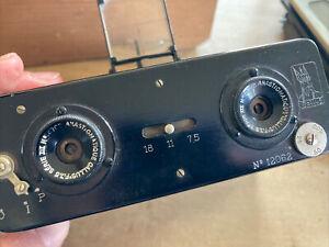 Early 20th C. Gallus Anasticmatique Stereo Camera W/ Box & Plates