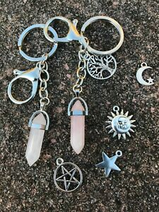 Rose quartz pendant star moon pentagram sun keyring pagan healing tree gemstone