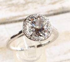 NWT 14K White Gold 2 Carat White Topaz & .05CTW Diamond Halo Engagement Ring