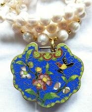 Antique Chinese Enamel Lock Amulet and Pearl Necklace, Chinese antiques
