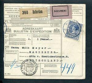 1933 pakketkaart van Rotterdam naar Magdeburg Dld; enkelfrankering VETH nvph 163