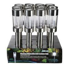 12x Solar Gartenstecker Set Edelstahl Lampe Leuchte Gartenleuchte solarbetrieben
