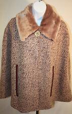 Nick & Mo Womens Ladies Beige Faux Fur Collar Poncho Wrap Winter Coat Size L/XL